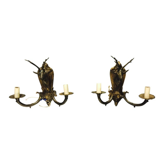 Vintage Brass Deer Head Wall Sconces - A Pair - Image 1 of 8