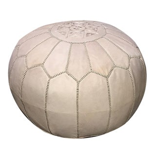 Mpw Plaza Moroccan Pouf Ottoman, Natural (Stuffed)