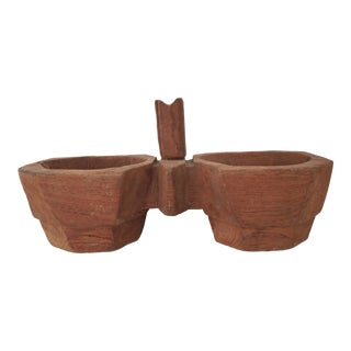Carved Spice Double-Bowl For Sale
