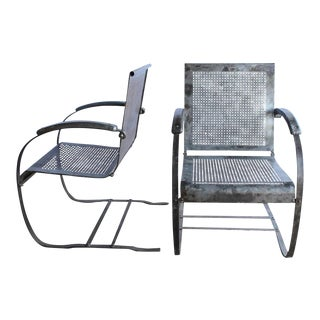 1930s American Metal Garden Lounge Chairs - A Pair