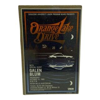 """1980 Vintage """"Orange Lake Drive"""" Concert Poster For Sale"""