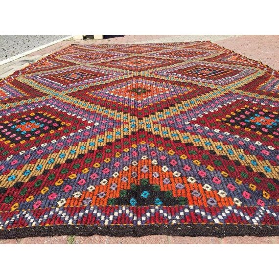 Boho Chic Vintage Handwoven Turkish Kilim Rug - 6'3'' x 11'' For Sale - Image 3 of 5
