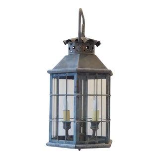 Vintage Traditional Verdegris Copper Lantern For Sale