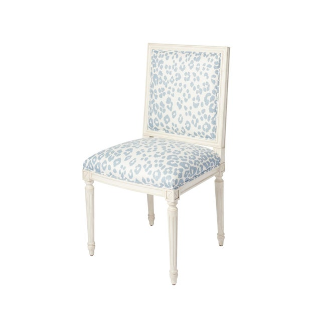Schumacher Schumacher Marie Therese Iconic Leopard Blue Hand-Carved Beechwood Side Chair For Sale - Image 4 of 11