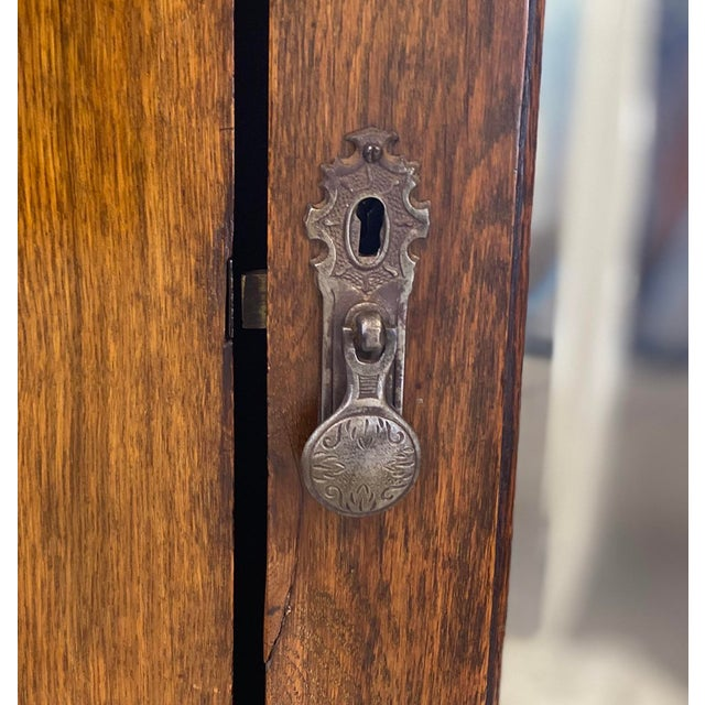 Metal Antique English Hand Carved Walnut Hall Wardrobe For Sale - Image 7 of 10
