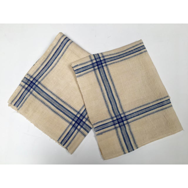 Homespun Flax Linen French Blue Plaid Towels - A Pair - Image 2 of 7