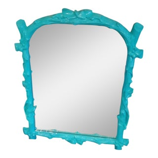 Vintage Faux Bois Gampel Stoll Style Framed Wall Mirror in Bright Soft Blue For Sale