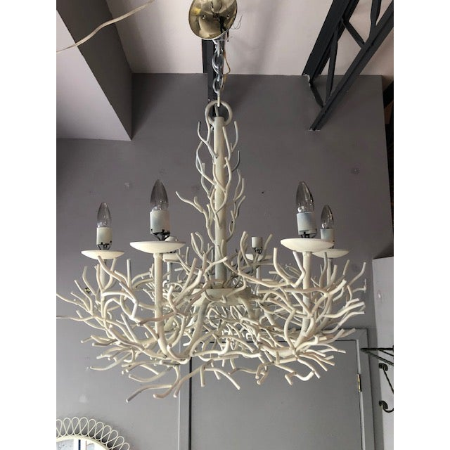 White Sculptural Vintage Faux Coral Iron Chandelier For Sale - Image 8 of 8