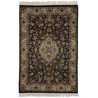 20th Century Persian Style Black Rug With Vase Design - 4′1″ × 6′ For Sale