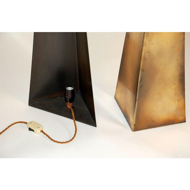 DESIGN FRERES Pair of Tall 'Pyramide' Console or Floor Lamps by Design Frères For Sale - Image 4 of 6