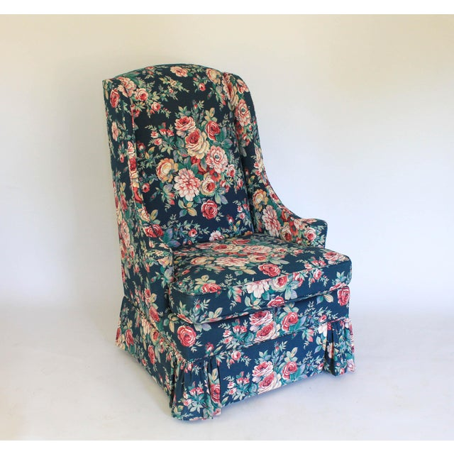 Beautiful high back scroll arm chair with scroll arms made by Clayton Marcus. Made in the USA. Makers mark under removable...