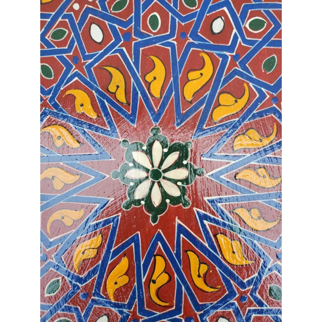 2010s Moroccan Sm Ceuta 1 Painted and Carved Star Table, Multi-Color For Sale - Image 5 of 8