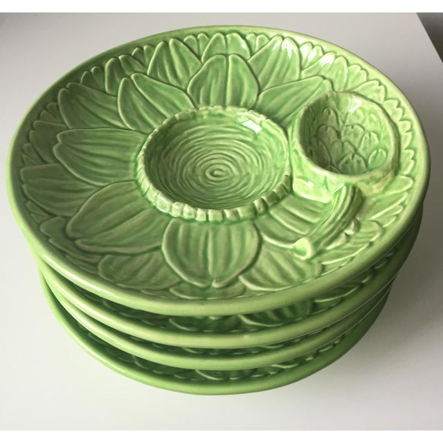 Vintage Olfaire Faience Artichoke Dishes - Set of 4 - Image 7 of 8