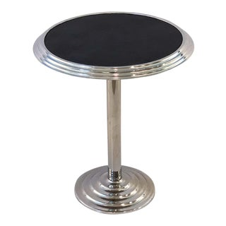 Art Deco Chrome and Mirrored Glass Round Table For Sale