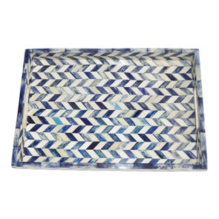 Susanna Chevron Bone Tray in Blue and Ivory For Sale