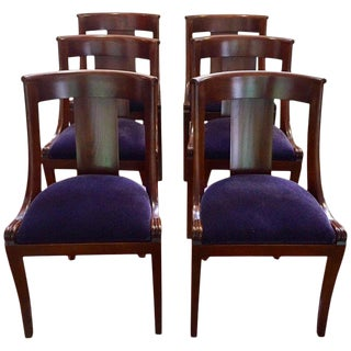 19th Century Antique English Dining Chairs With Mohair Upholstery - Set of 6 For Sale