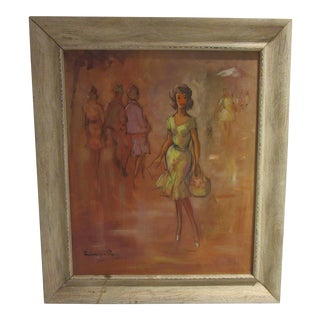 1960s Oil Painting of Fashion Paris Scene With Female Dressed in Yellow Dress For Sale