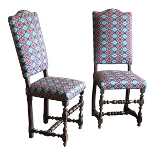 17th Century Pair of William & Mary Side Chairs, Bargello Upholstery