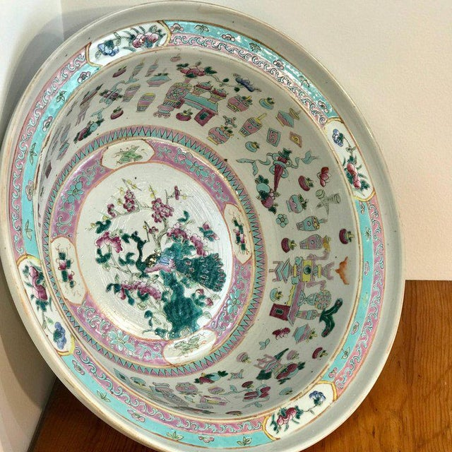 Green Large Qing Dynasty Famille Verte Peacock and Vase Motif Bowl For Sale - Image 8 of 13