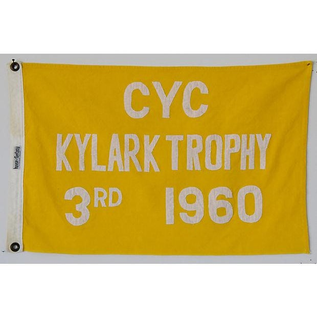 1960 Historic Cleveland Yacht Club Trophy Winning Flag For Sale - Image 4 of 4