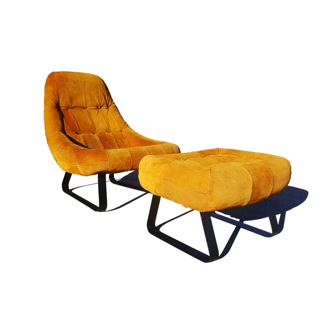 Mid-Century Modern Percival Lafer Brazilian Space Age Earth Lounge Chair and Ottoman For Sale - Image 9 of 9