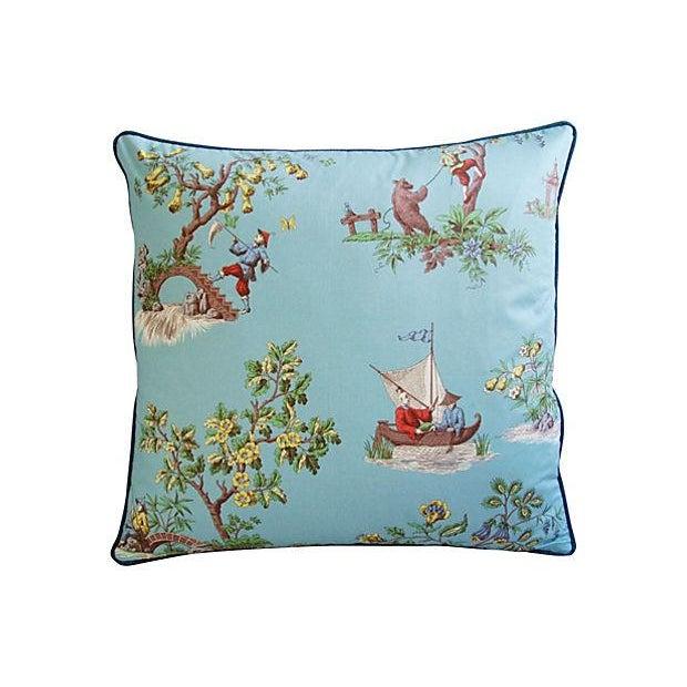 Powder Blue Scalamandré Pillows - A Pair - Image 3 of 7