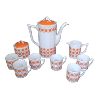 Vintage Mid-Century Japanese White & Orange Porcelain Tea Set - 9 Pc.