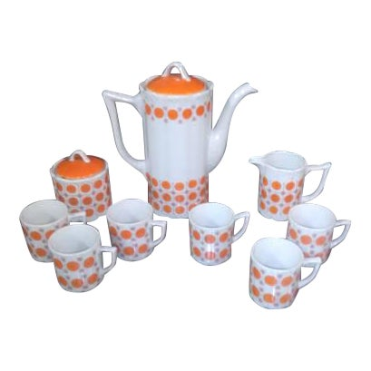 Vintage Mid-Century Japanese White & Orange Porcelain Tea Set - 9 Pc. - Image 1 of 8