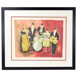 "Vintage Mid-Century Modern Agostini ""L'orchestre"" Musical Quintet Signed Lithograph For Sale"