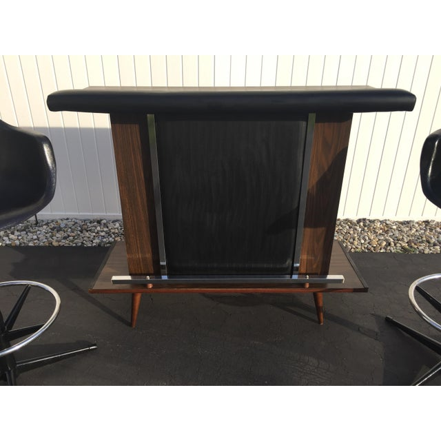 Mid-Century Black Vinyl Bar & Bar Stools - Set of 3 - Image 3 of 11