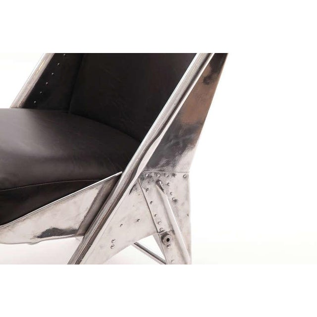 1940s Mid-Century Modern Riveted Aluminum and Leather Cessna Chairs - a Pair For Sale - Image 4 of 9