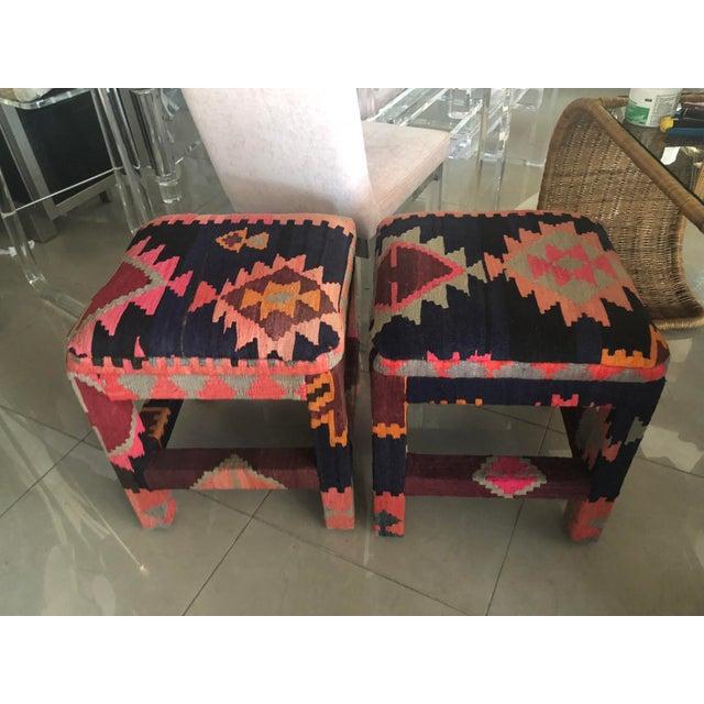 Boho Chic Vintage Boho Kilim Upholstered Stool Ottomans - A Pair For Sale - Image 3 of 13