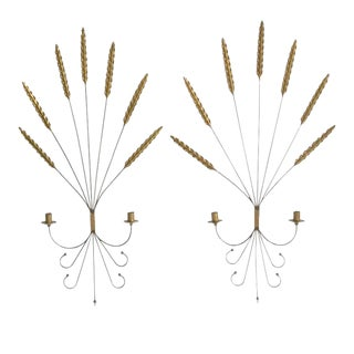Decorative Brass and Wrought Iron Sconces - a Pair For Sale