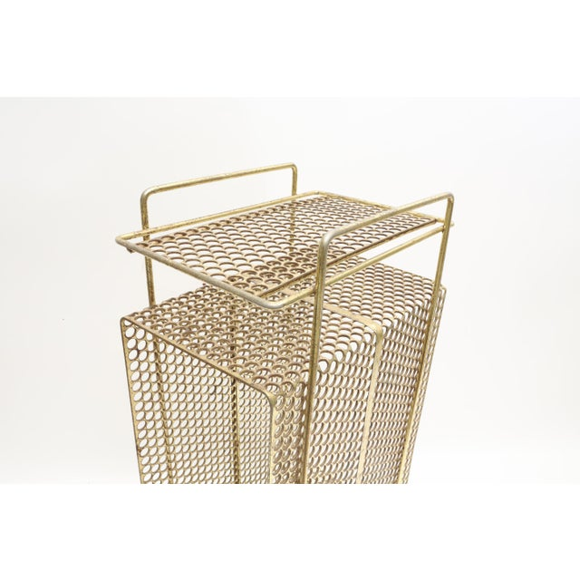 Hollywood Regency Mid Century Modern Gold Brass Magazine Stand Telephone Side Table For Sale - Image 3 of 6