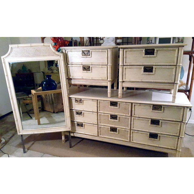 """Metal 1970s Stanley Furniture """"Bali Hai"""" Campaign Faux Bamboo 9 Drawer Dresser For Sale - Image 7 of 8"""