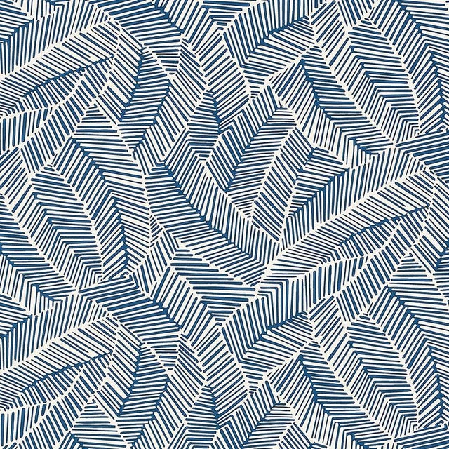 Contemporary Schumacher Abstract Leaf Geometric Stripes Wallpaper in Navy Blue - 2-Roll Set (9 Yards) For Sale - Image 3 of 3