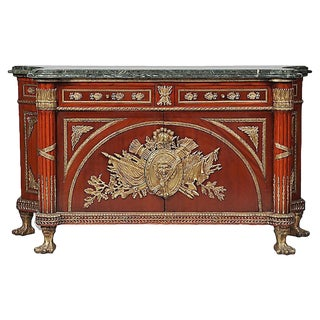 20th Century Louis XVI Style Marble/Mahogany Commode For Sale