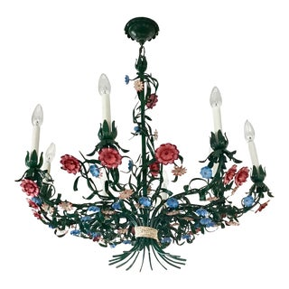 Italian Tole Garden Bouquet Eight Arm Chandelier For Sale