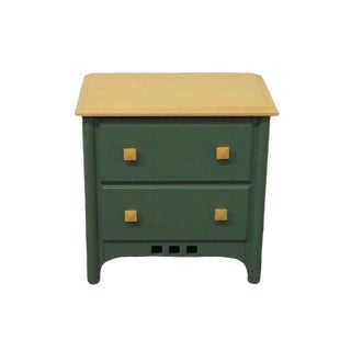 20th Century Contemporary Drew Forest Green Nightstand For Sale