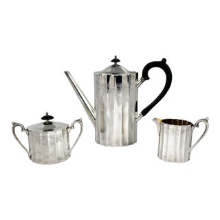 Colonial Classic Silverplate Coffee Service by Lunt Silver Includes Coffee Pot Creamer and Sugar Bowl For Sale
