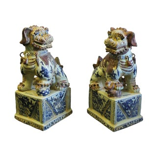 Chinese Red White Blue Porcelain Foo Dogs - A Pair