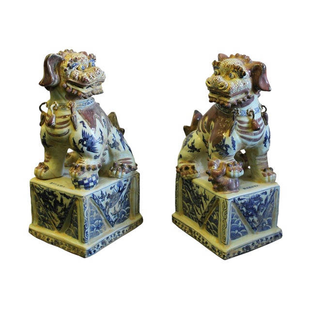 Chinese Red White Blue Porcelain Foo Dogs - A Pair For Sale