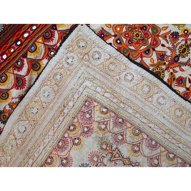 1950s Indian Embroidered Wall Tapestry For Sale - Image 5 of 10