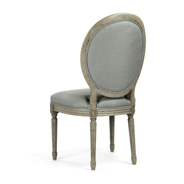 Everest Medallion Tufted Back Side Chair in Sage Linen For Sale - Image 4 of 6