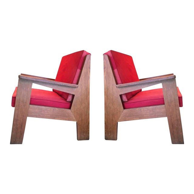 Pierre Jeanneret Attributed Pair of Oak Modernist Chairs With Striking Design For Sale