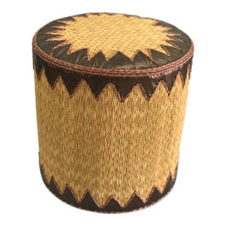 Woven Reed Ottoman With Hand Tooled Leather Trim For Sale