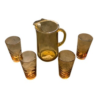 Amber Glass Mid-Century Pitcher and Tumbler Set - 5 Pieces For Sale