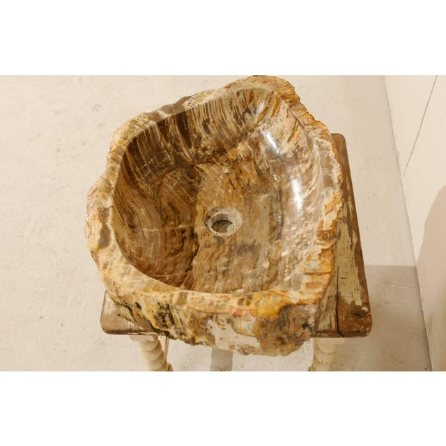 White Vintage Mid Century Petrified Wood Sink For Sale - Image 8 of 9