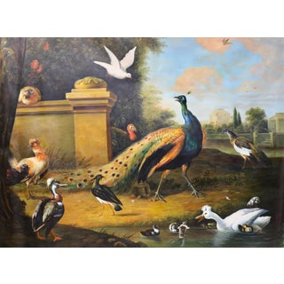Late 20th Century Vintage English Landscape of Peacock and Other Birds For Sale