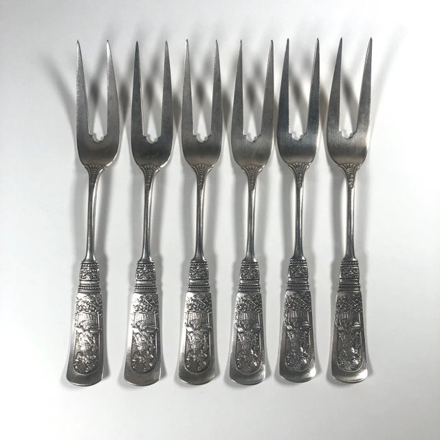 "Metal Late 19th Century Gorham ""Fontainebleau"" Sterling Silver Fruit Forks - Set of 6 For Sale - Image 7 of 7"